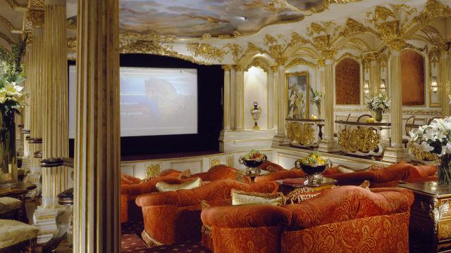 Theater view of Le Belvédère stunning Bel Air luxury real estate located on 630 Nimes Rd, Los Angeles, CA 90077